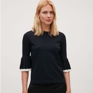 NEW COS Black Bell Sleeve Knit Blouse Top